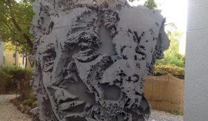 Concrete 3D sculpture by Vhils at Urban Nation Museum Berlin